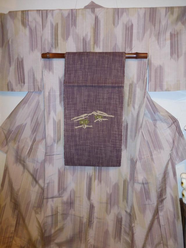 米沢紬着物 新田秀次 作 Siozawa silk and pongee Kimono
