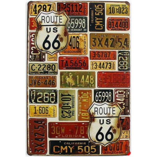 【ブリキ看板】ルート66ナンバープレート色々 小型版[A62523]