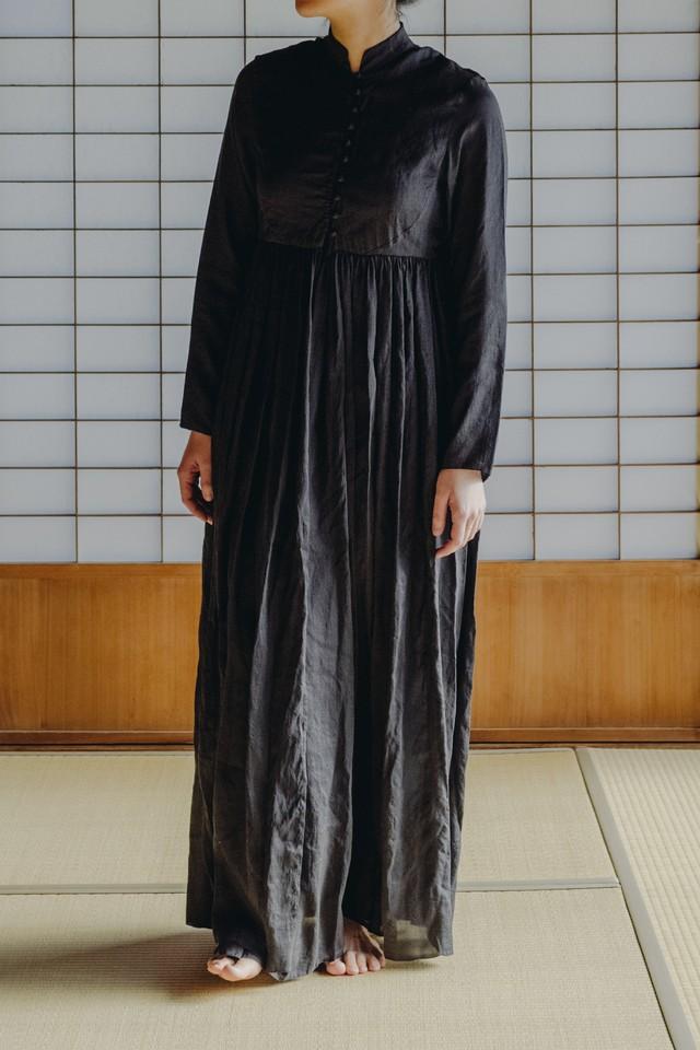 YAECA silk khadi |ボタンギャザードレス Logwood