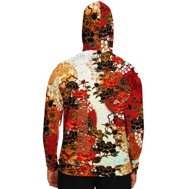 牡丹家紋装飾 紅白 ユニセックスパーカー