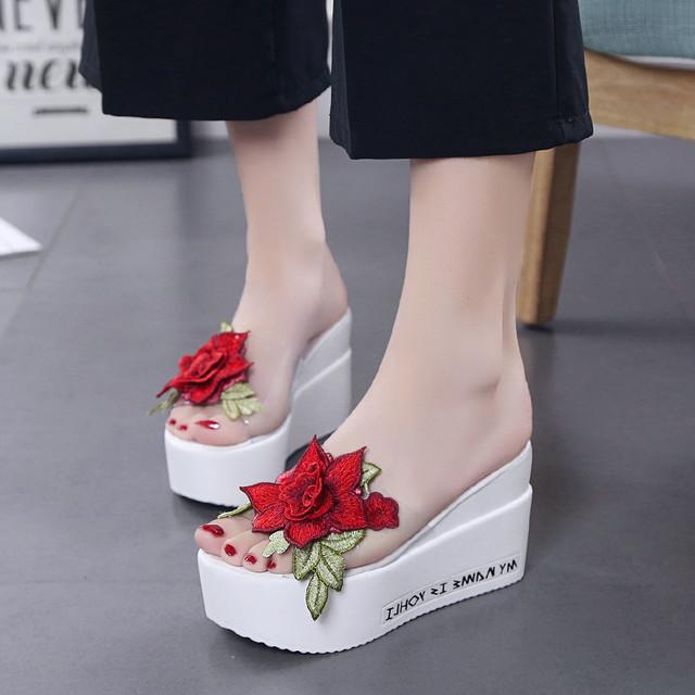 【shoes】刺繡入り合わせやすい厚底オープントゥスリッパ