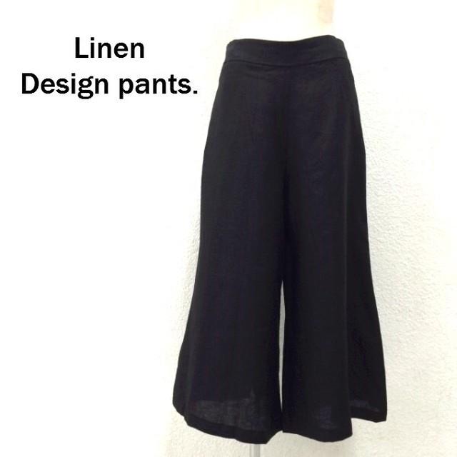 リネン地デザインワイドパンツ ブラック