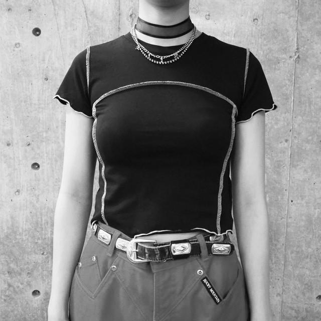 【WOMENS - 1 size】STITCH TEE / Black