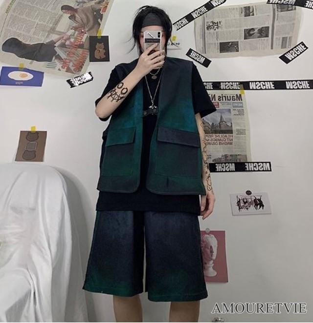 ベスト アウター ボトムス カジュアルパンツ ハーフパンツ グリーン ストリート ピープス オルチャン 韓国ファッション