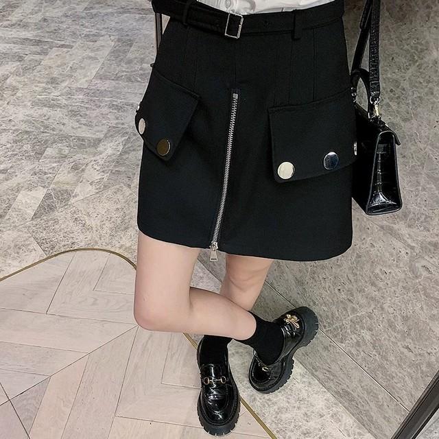 middle zipper button culottes