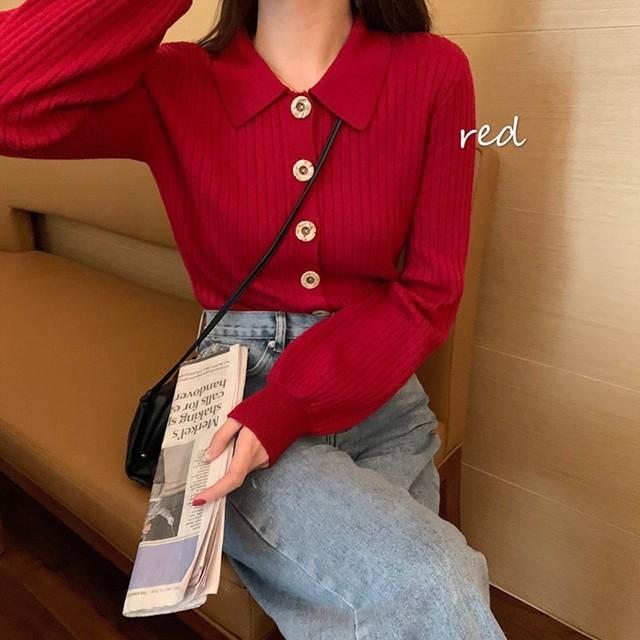 【tops】セレブリティボタン飾りvネック新作トレンドセーター 22997410