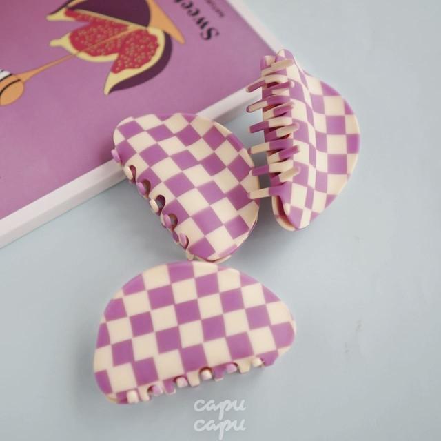 «即納» Chunks Checker Claw Lavender / White チャンクス バンスクリップ・ヘアピン