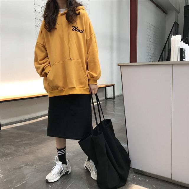 【セット商品】ルーズシルエットパーカー+ミモレ丈スカート【0781】