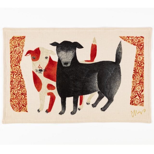 【クリアランスセール】moritaMiW ティータオル 黒犬チョークと赤斑犬のテン / イヌ TEA TOWEL 今治タオル 1-67963-21-R