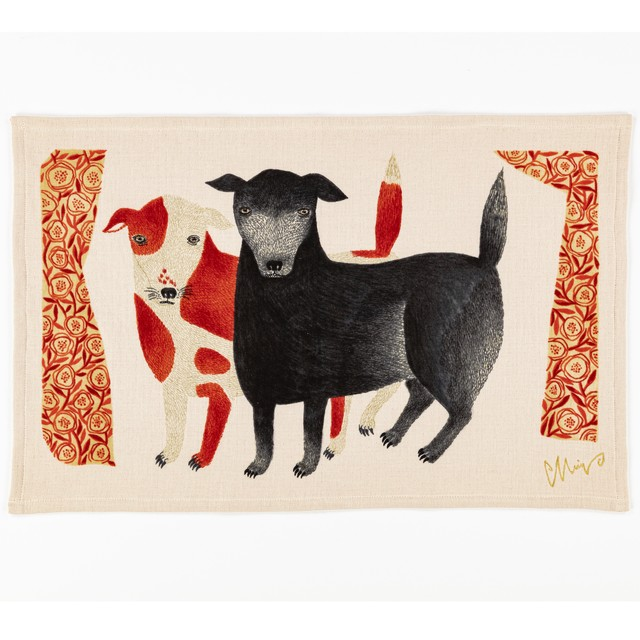 moritaMiW ティータオル 黒犬チョークと赤斑犬のテン / イヌ TEA TOWEL 今治タオル 1-67963-21-R