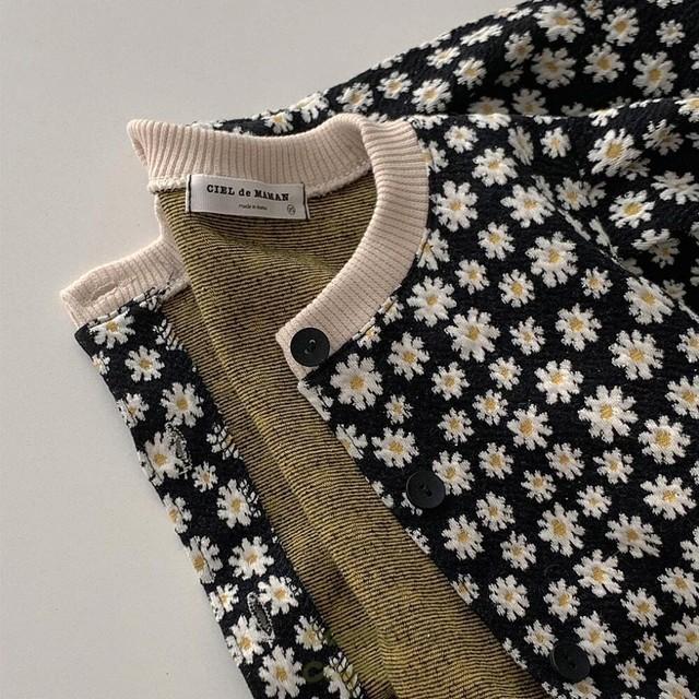 «baby size» retro flower cardigan ベビーサイズ レトロフラワーカーディガン
