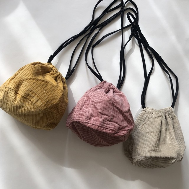 ◆即納ダークピンクのみ◆ コーデュロイ&レオパード 巾着バッグ