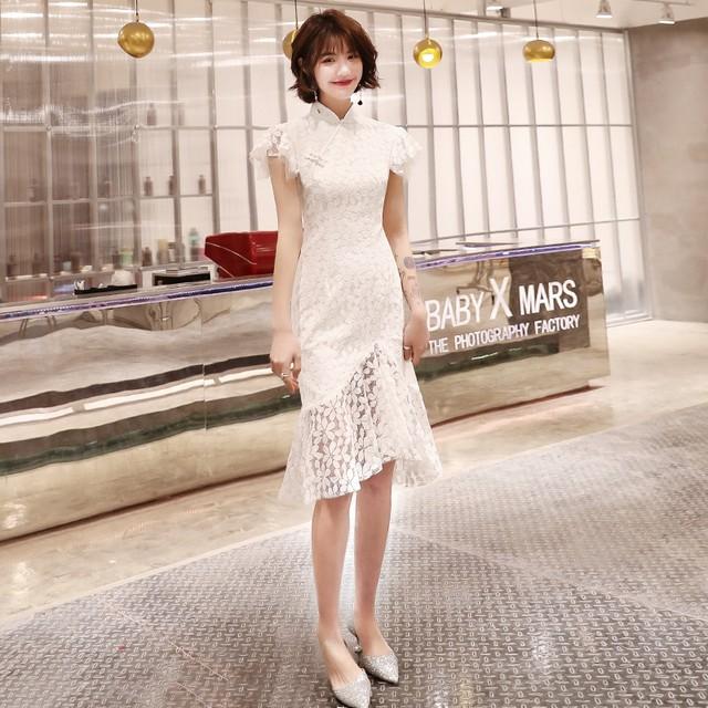 チャイナ風ドレス ショートンピース 大きいサイズ S M L LL 3L 4L パーティー 二次会 普段着 レトロ 気質良い 清新 スタンドネック 半袖 レース フィッシュテール ホワイト 白い