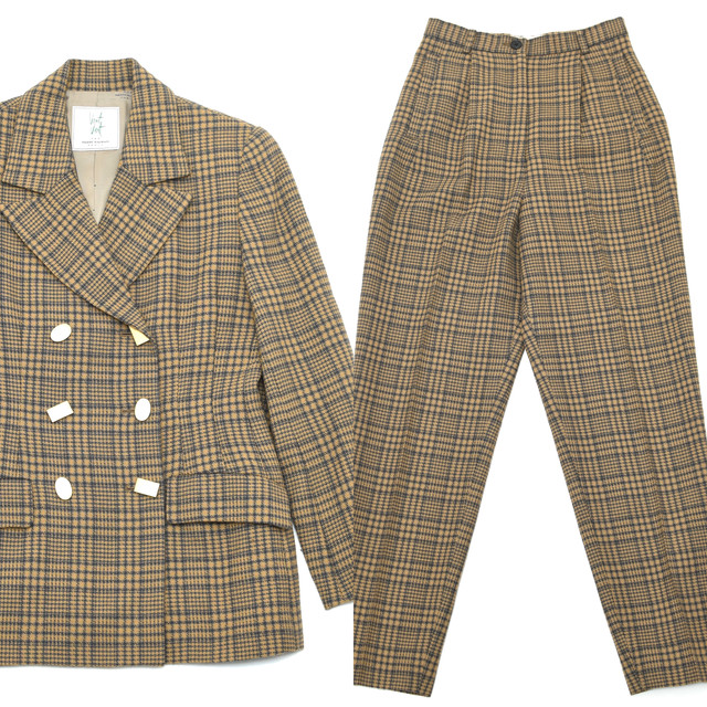 Vintage double breasted check wool setup