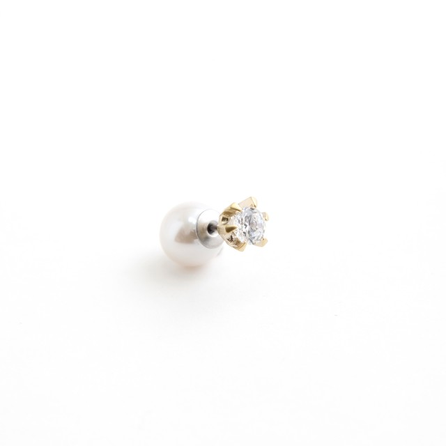 MAYU/PEARL RIVETS 5mm Cubic Zirconia, 9mm Gold(片耳)