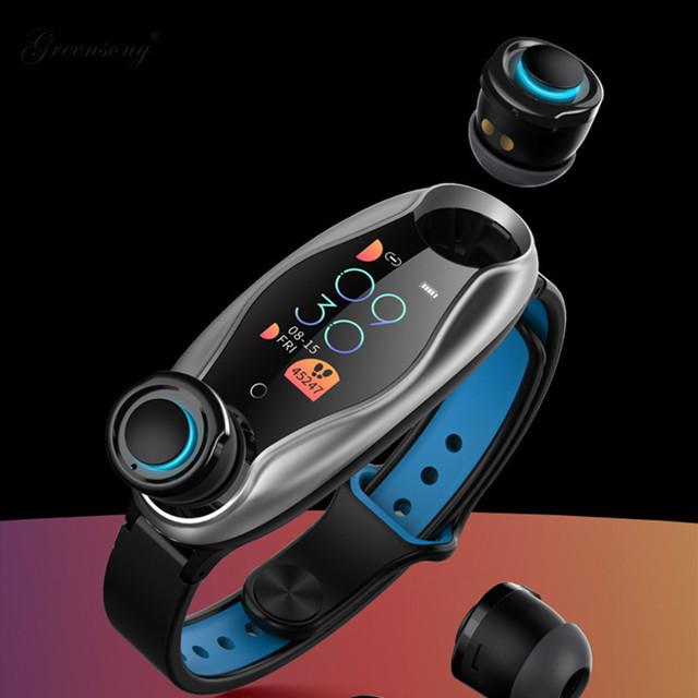 スマートウォッチ & ワイヤレスイヤホン 2WAY ヘッドホン bluetooth5.0 イヤフォン 音声アシスト 心拍数 血圧 カロリー 万歩計 トレーニングモード リモートカメラ 時計 ストップウォッチ 防水 スポーツ iPhone iOS & Android 対応 2in1
