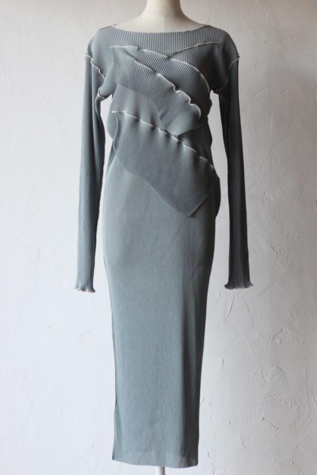 【kotohayokozawa】pleats dress long sleeve-gray