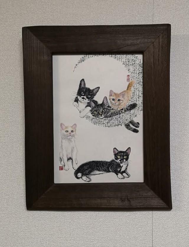 タータン窓ねこ~吾輩は猫である【額装作品】