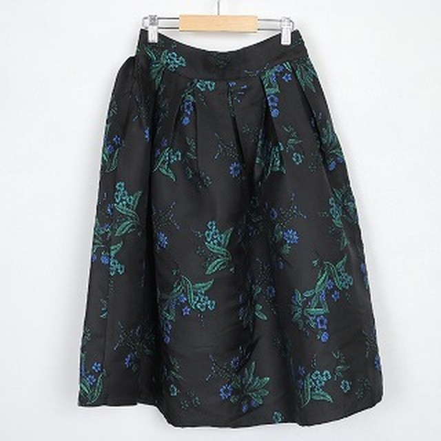 nselection フラワー刺繍ボリュームスカート / BK