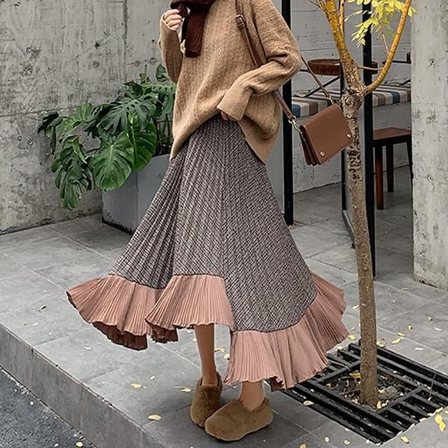 イレギュラープリーツスカート D201201