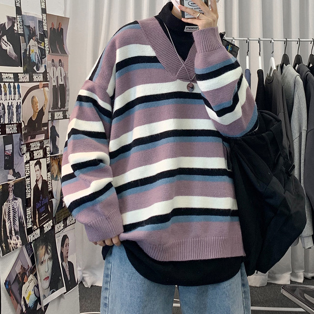 Vneck border knit sweater PD2255