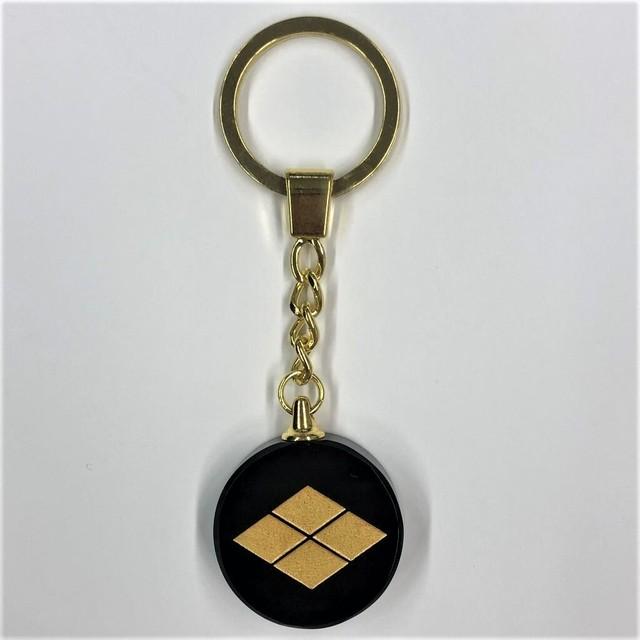 【風林火山】武田信玄 黒硝子(金色)のキーホルダー