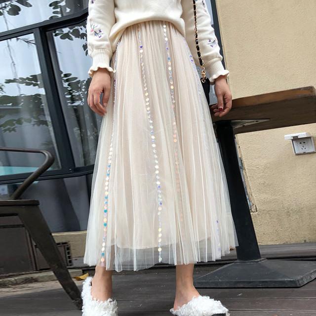 【bottoms】お洒落スパンコール合わせやすいチュールスカート