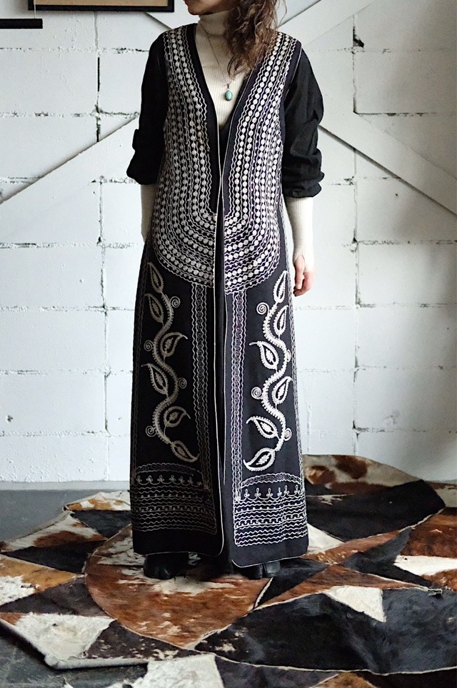 Ethnic embroidered long vest
