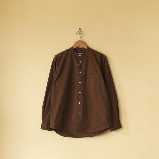 Manual Alphabet マニュアルアルファベット ルーズフィットバンドカラーシャツ Loosefit band collar shirt・ブラウン【メンズ】