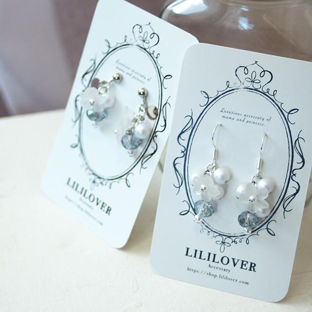 親子ペア-Glass Pearl Flower-[ピアス・イヤリング]シルバー925ガラスビーズとパールとお花 | 親子ペアのイヤリングやヘアアクセショップ Lililover