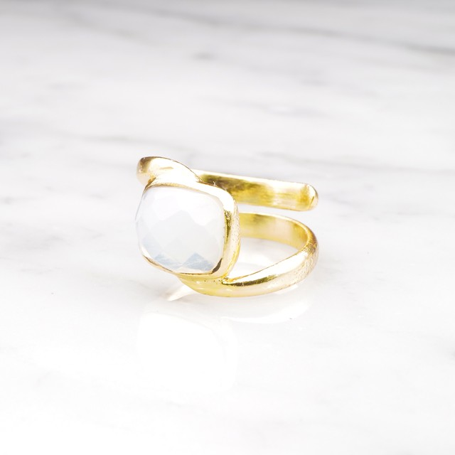SINGLE STONE WAVE RING GOLD 005