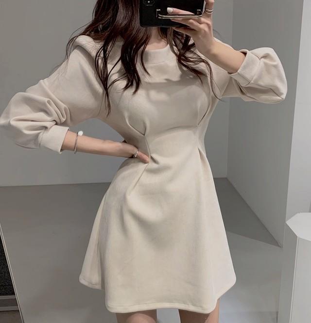 velvet A line dress 2color