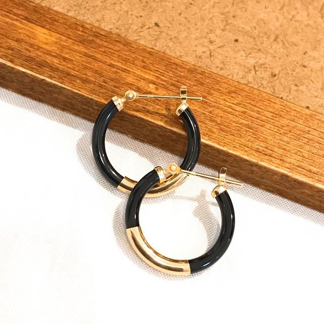 k18 ピアス オニキス 18金 天然石 オニキス フープ  ピアス 2 ×20mm No②   / k18 onyx 2 ×20mm hoop pierce No②