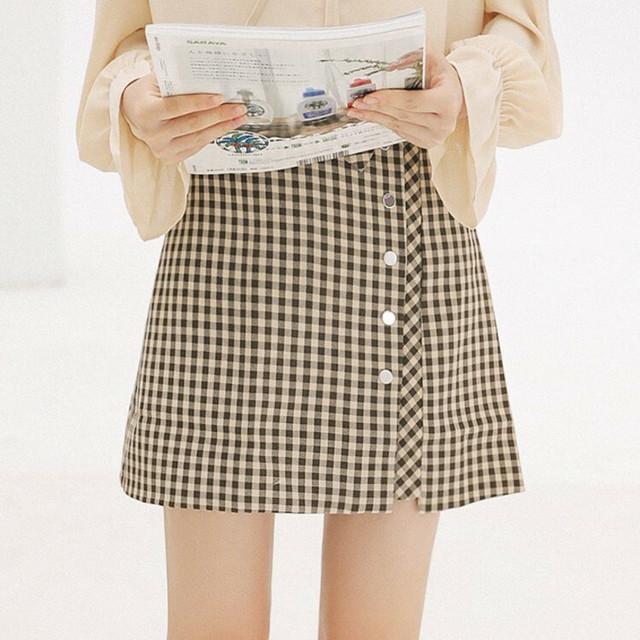 レディース ミニラップスカート チェック フロントボタン レトロ ハイウエスト 可愛い 大人カジュアル オルチャン 韓国 韓国ファッション / Retro chic lattice short skirt (DTC-576606619062)