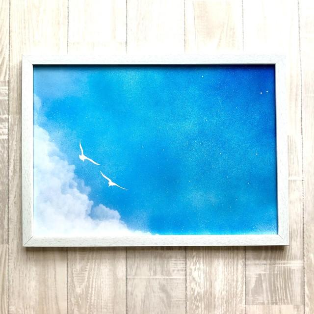 「星空のプラットホーム」 可愛らしい真四角キャンバス お部屋と生活を彩るインテリアパネル風景画