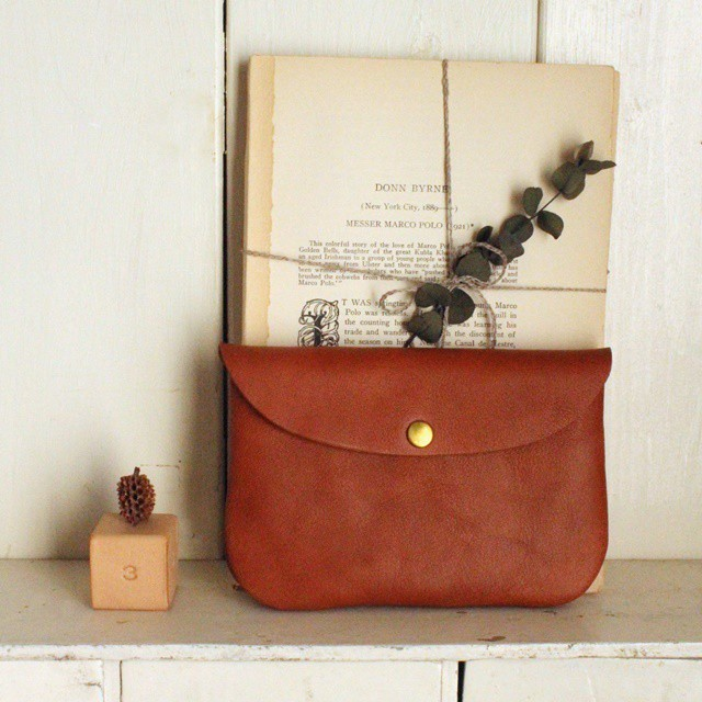 ■【 牛革のcoin purse pocket 】【M】ナチュラルNatural / ブラウンBrown