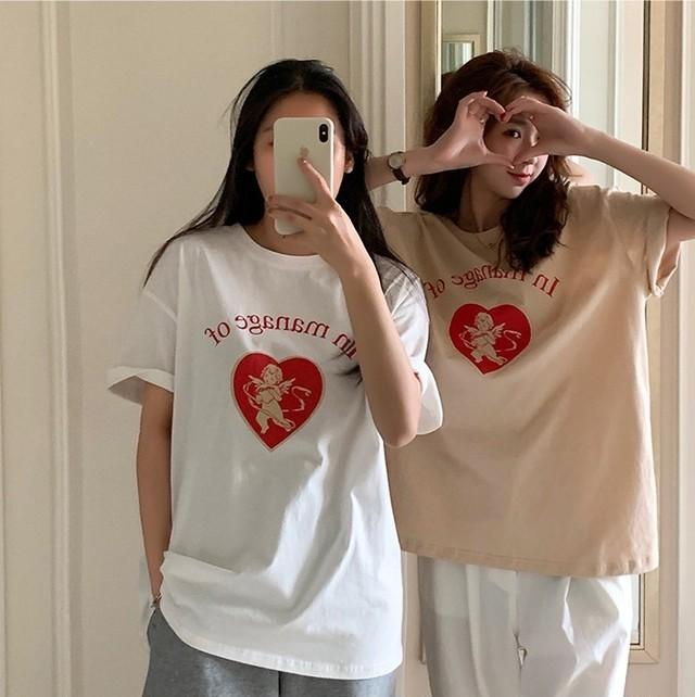 ラブリーエンジェルプリントミドル丈Tシャツ S3751