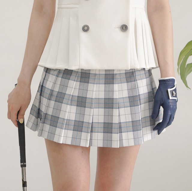Summer marine check skirt(white x Blue)