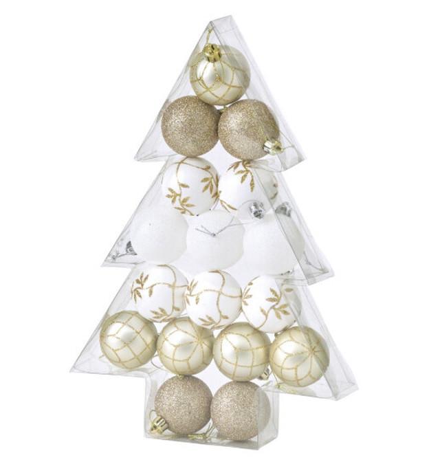クリスマス パーティーオーナメント 5cmボール17個セット ゴールド02/浜松雑貨屋 C0pernicus