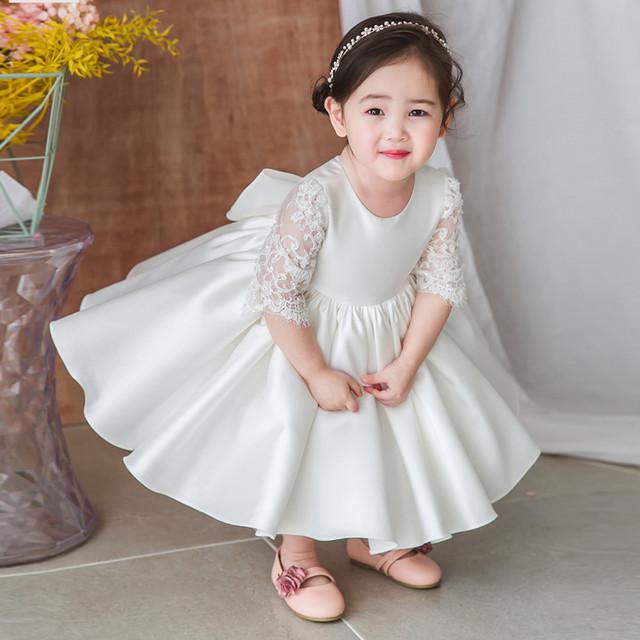 子どもドレス 子供ドレス キッズドレス 子供服装 演出装 舞台装 女の子 子供ワンピース ラウンドネック 七分袖 80 90 100 110 120 130 140 150 プレゼント 誕生日 パーティー 結婚式 ホワイト 白い