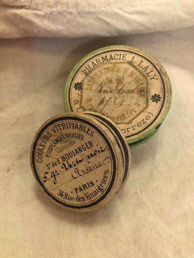 フランス 古い小さな紙箱セット 薬箱 green