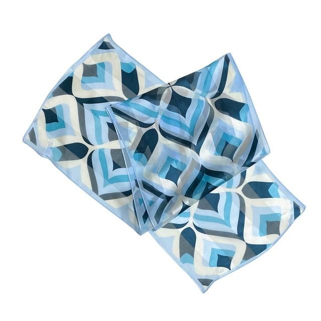 【低価格】シルク100%|日本製|横浜スカーフ 手捺染 クローバーアート|クール&クリアなイメージ♪【sp045】
