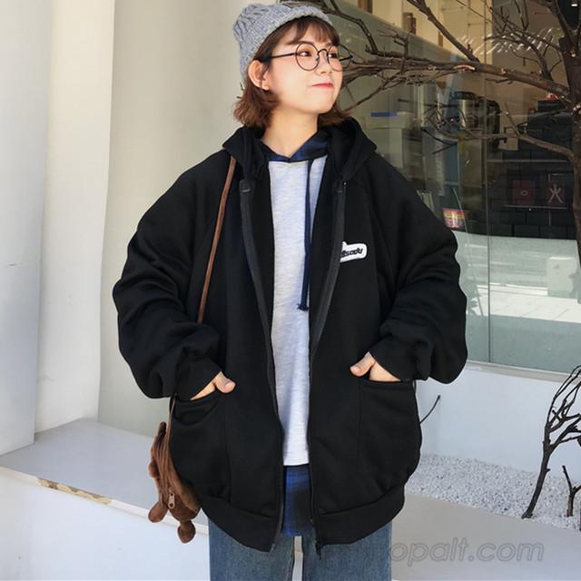 【アウター】韓国系フード付きジッパー長袖ジャケット24507140