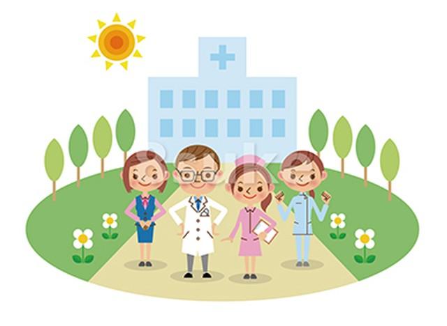 イラスト素材:病院と医療スタッフイメージ(医者・看護師・介護士・医療事務)(ベクター・JPG)