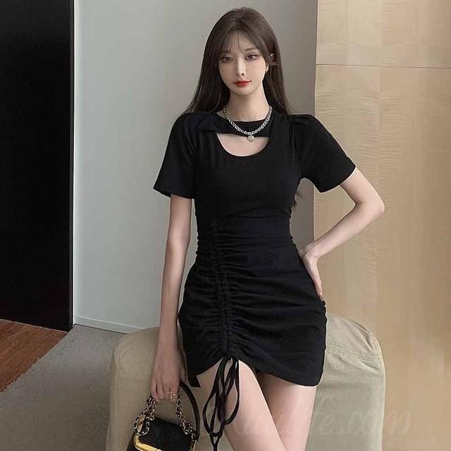【ワンピース】韓国系ラウンドネック膝上透かし彫りボウタイワンピース42124976
