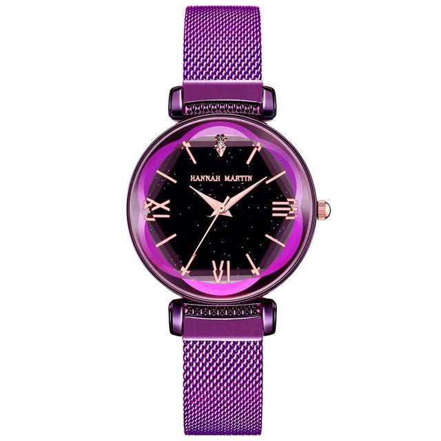 新日本MIYOTAムーブメントレディース高品質ブライトパープルステンレススチールマグネットメッシュ腕時計防水RelogioFemininoD8-Z