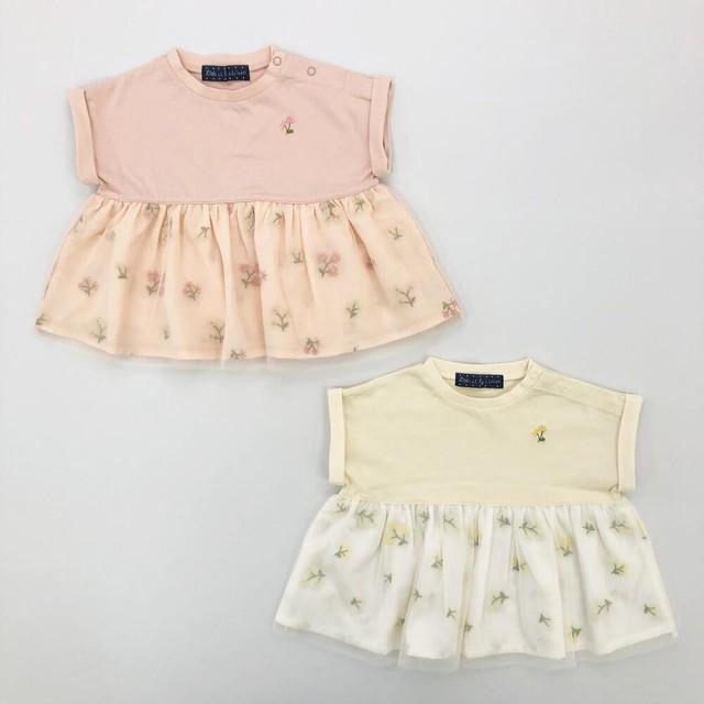 Little s.t. by s.t.closet チュール刺繍Tシャツ