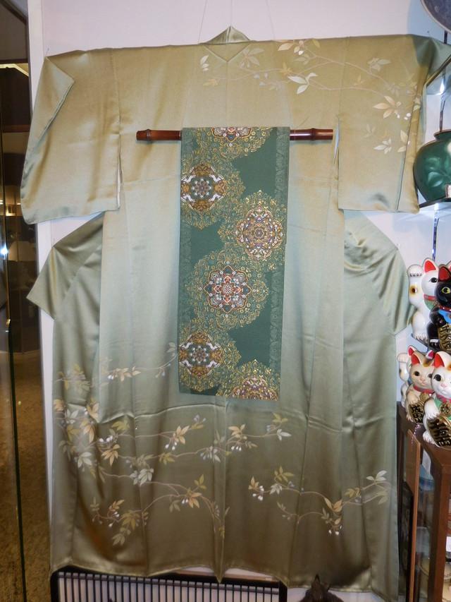 繻子綸子糸目手描友禅袷訪問着 silk  Kimono(No2)