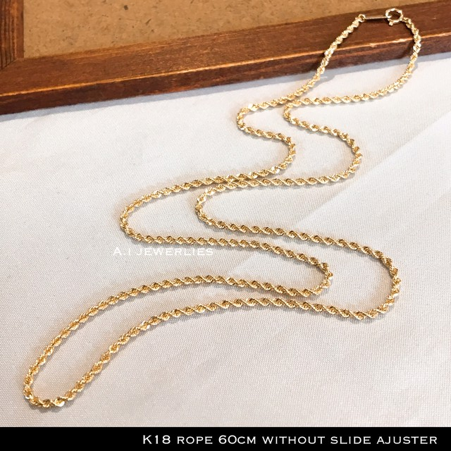 k18 ネックレス ロープ 18金 ロープ デザイン ネックレス 60cm スライド アジャスター 無し / k18 rope design necklace 60cm without adjuster