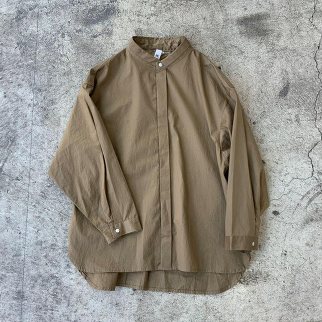 MOUN TEN. 80/1 washer big shirts (khaki) [MT201004-a] 110/125/140